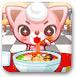 可愛貓瞇吃面條